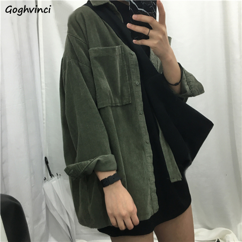 Jackets Women Solid Single Breasted Loose Long Sleeve Turn-Down Collar Coats Womens Harajuku Casual Corduroy Jacket Students New