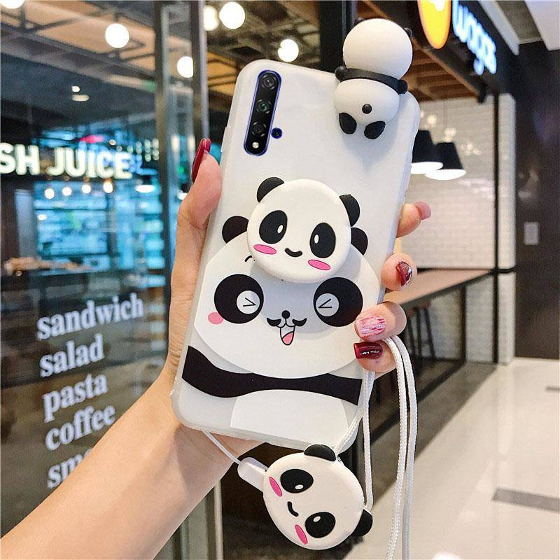 Cute Soft TPU Case For Samsung Galaxy S20 Plus Note 10 Plus 8 9 S7 S8 S9 S10 S10E J4 J6 J8 A6 A7 A8 Plus 3D Panda Silicone Cover