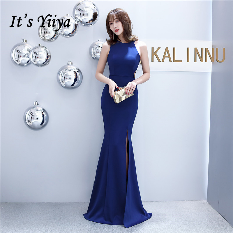 Mermaid Evening Dress It's Yiiya DX403 Sleeveless Zipper Abendkleider Navy Blue O-Neck Floor-Length Evening Gown For Women