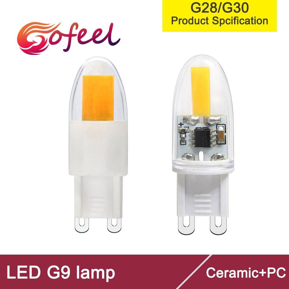 Mini g9 1pc cob led 110v 120v ac 220v 230v ac pode ser escurecido 1.6w 2.3 wattage equivalente 18w 23w led cob lâmpada substituir lâmpada de halogênio