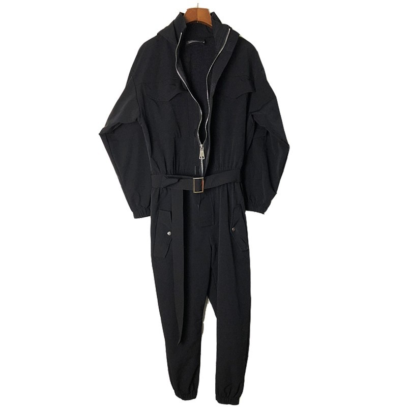 Spring Autumn Hooded Jumpsuit Men Japan Style Vintage Cargo Pants Overalls Unisex Street Hip Hop Ankle Length Pant One Piece Set