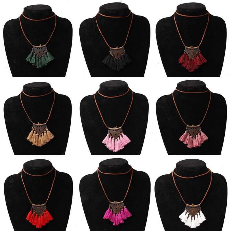 Bohemia geometría lana COLLAR COLGANTE con borla 9 colores rosa Ethnic Sweater Chain Fringed Chokers collar joyería
