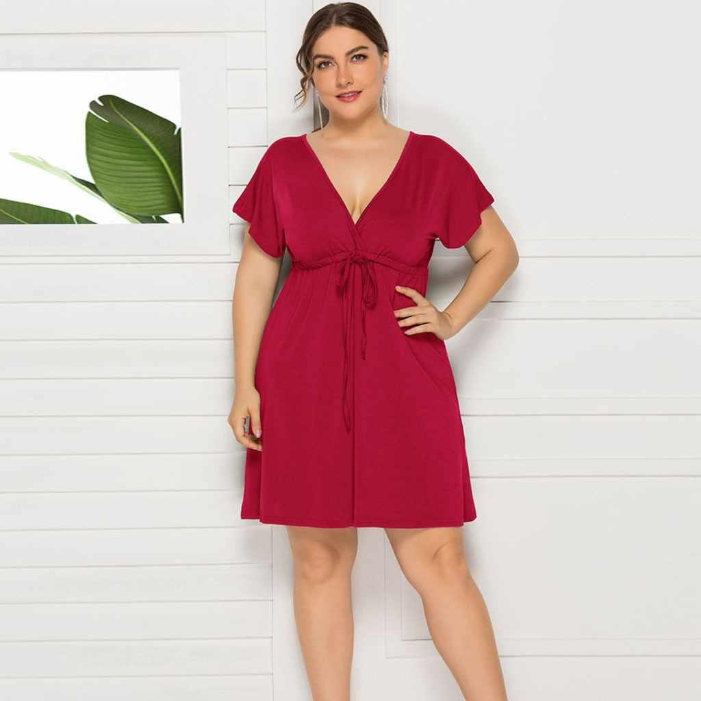 Sagace 여성 드레스 캐주얼 짧은 소매 느슨한 드레스 프릴 스플 라이스 높은 허리 스위트 비치 여름 패션 숙녀 드레스 뜨거운