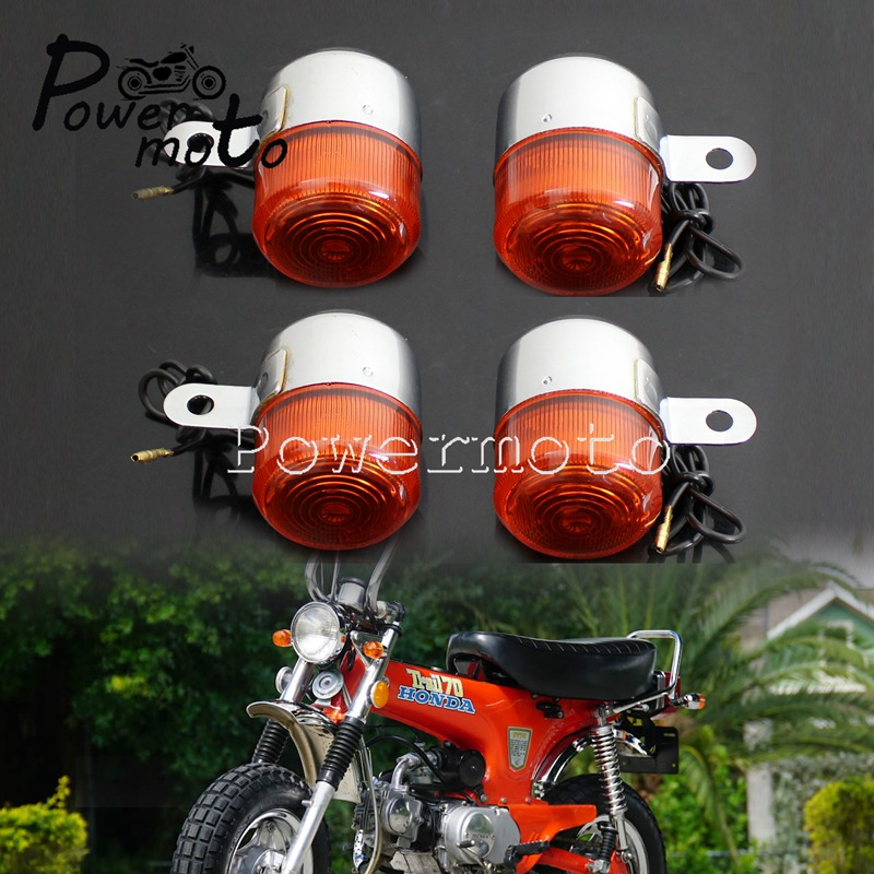 4Pcs Front & Rear Chopper Turn Signal Light Cafe Racer Indicator Blinker Tail Flasher Lamp For Honda Dax ST CT Z50 50 70 125cc