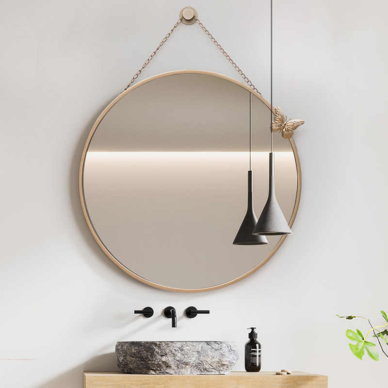 Round Mirror With Hanging Chain Metal Framed Decorative Wall Mounted Mirror With Removable Butterfly Wall Mount Hook Offered Aliexpress