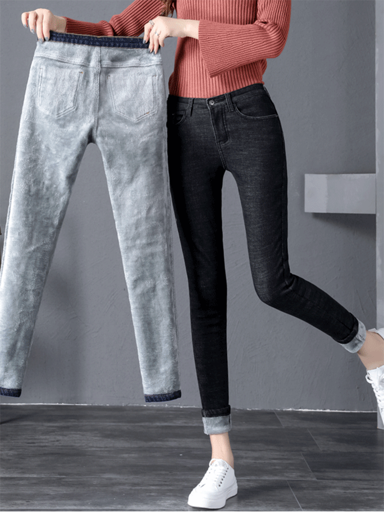 Warm Jeans Trousers Pants Black Blue High-Waist Female Femme Women Denim Ladies for Winter