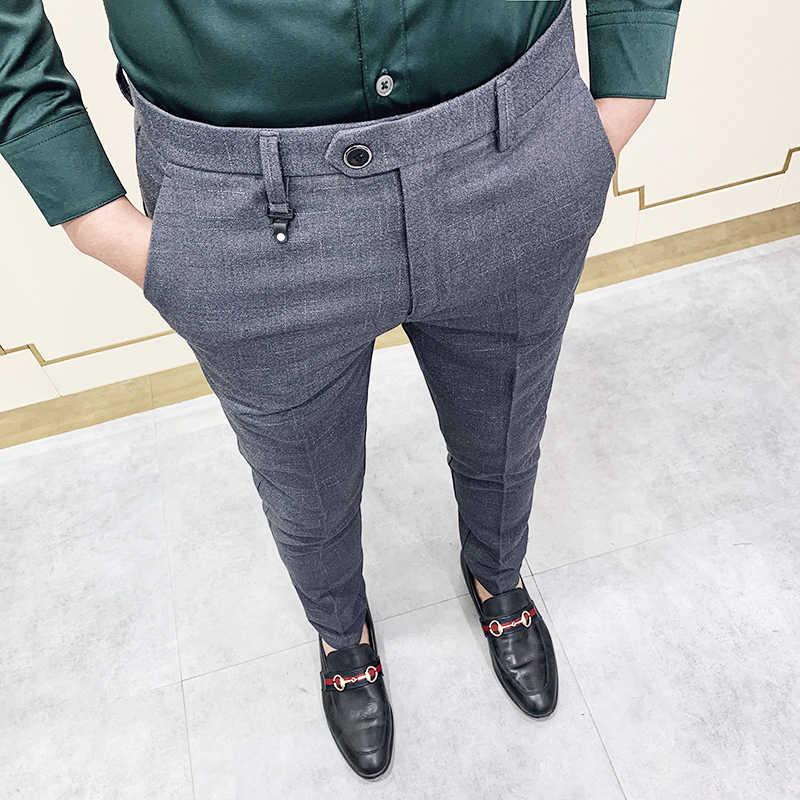 Los Hombres De La Marca De Traje Gris Pantalon Casual Para Hombre Formal Vestido 2020 Pantalones De Primavera De 2020 Pantalon Traje Pantalon De Traje Slim Fit Pantalones De Traje Aliexpress