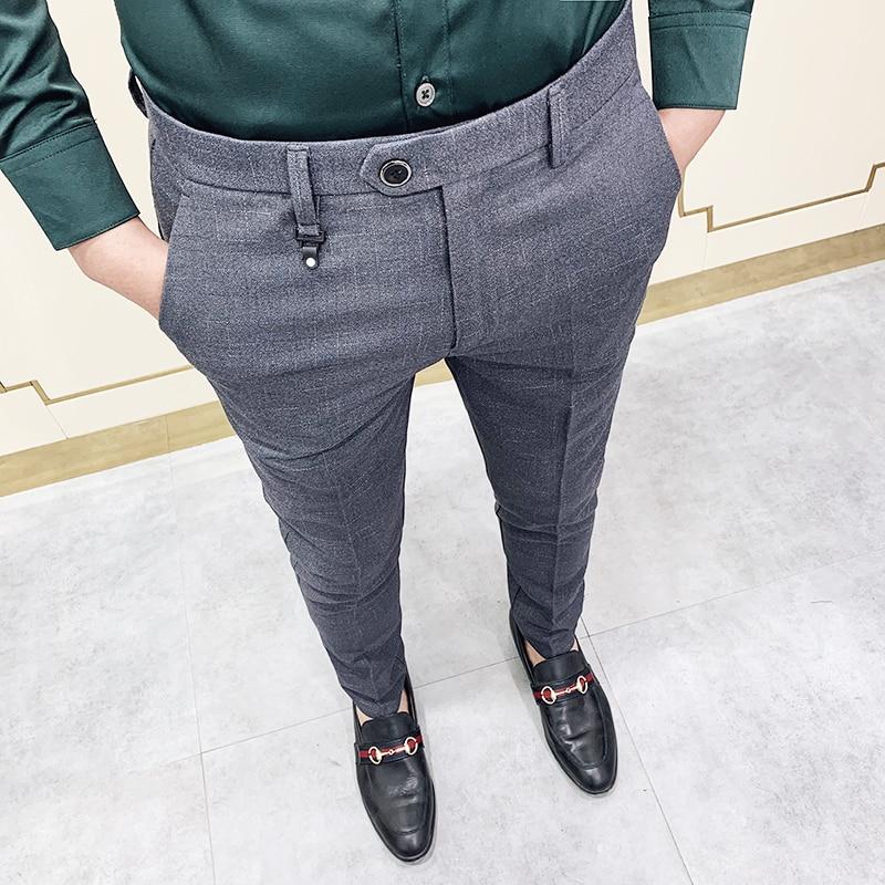 Brand Men Gray Business Suit Pant Casual Formal Mens Dress Pants 2020 Spring 2020 Spring Pantalon Costume Slim Fit Suit Trousers