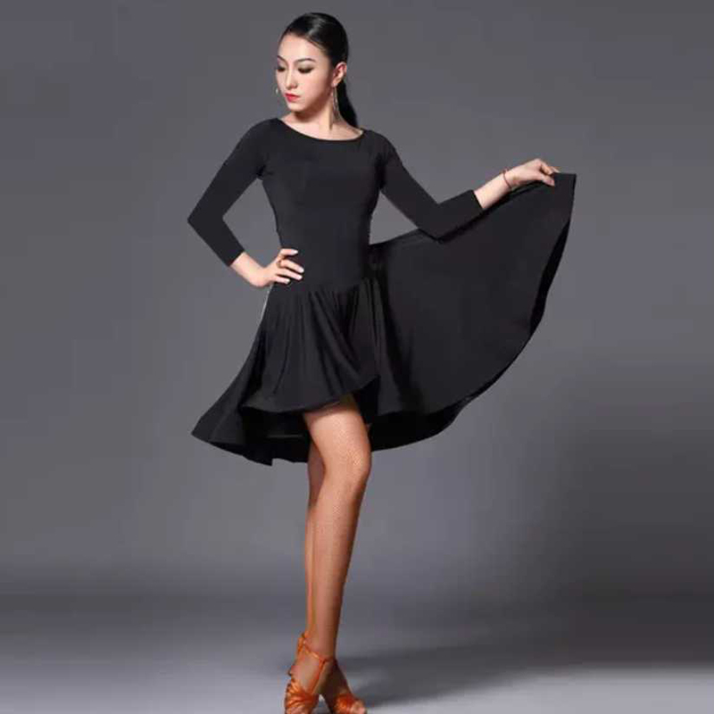 2020 New Latin Dance Dress Women Short Long Sleeve Black Tango Rumba Ballroom Fashion Modern Salsa Cha Cha Latin Dance Skirt