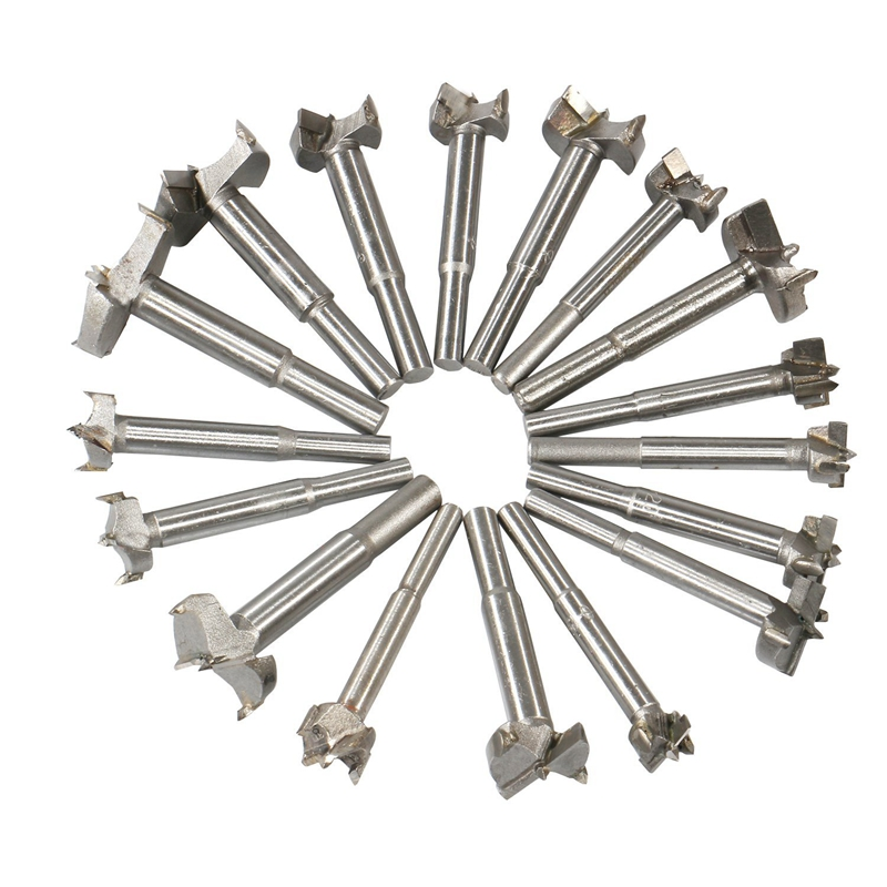 Woodworking Forstner Drill Bits Sets, 17 PCS Carbon High Speed Steel Wood Working Hole Cutter Titanium Coated Wood Boring Hole
