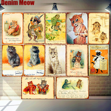 цена на The Cat Show Plaque Vintage Metal Tin Signs Bar Pub Cafe Home Decoration Happy Christmas For Cat Wall Art Posters Decor MN136