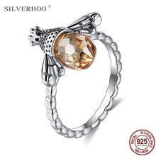 SILVERHOO-Anillo de Plata de Ley 925 para mujer, cristal amarillo de Austria, joyería fina, anillos de lujo de abeja para mujer, regalo de boda a una amiga