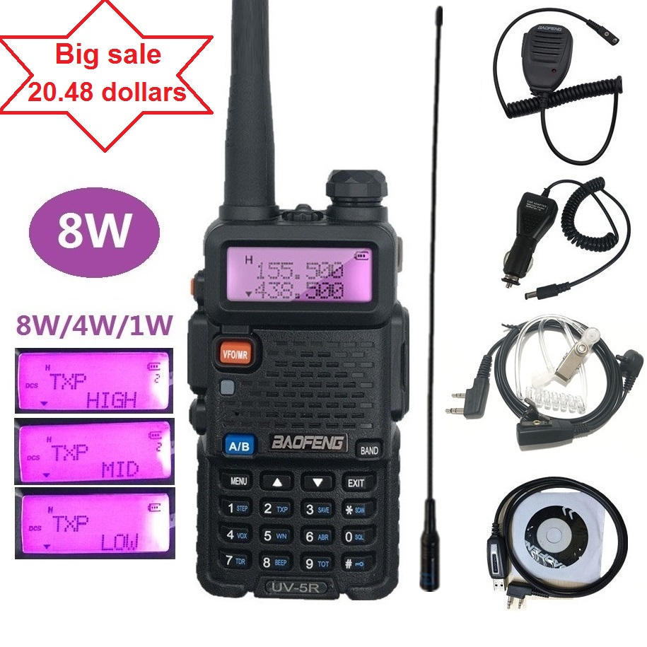 BAOFENG UV-5R 8W Walkie Talkie VHF UHF Amateur Ham CB Radio Station HF Transceiver PMR446 Hunting Radio Amador Scanner VOX UV 5R