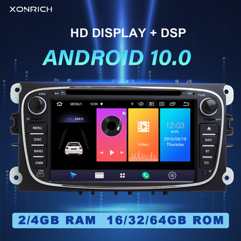 IPS DSP 4GB 2 din Android 10 Car Radio Multimedia For Ford Focus 2 3 mk2 Mondeo 4 Kuga Fiesta Transit Connect S-MAXC-MAX Galaxy image