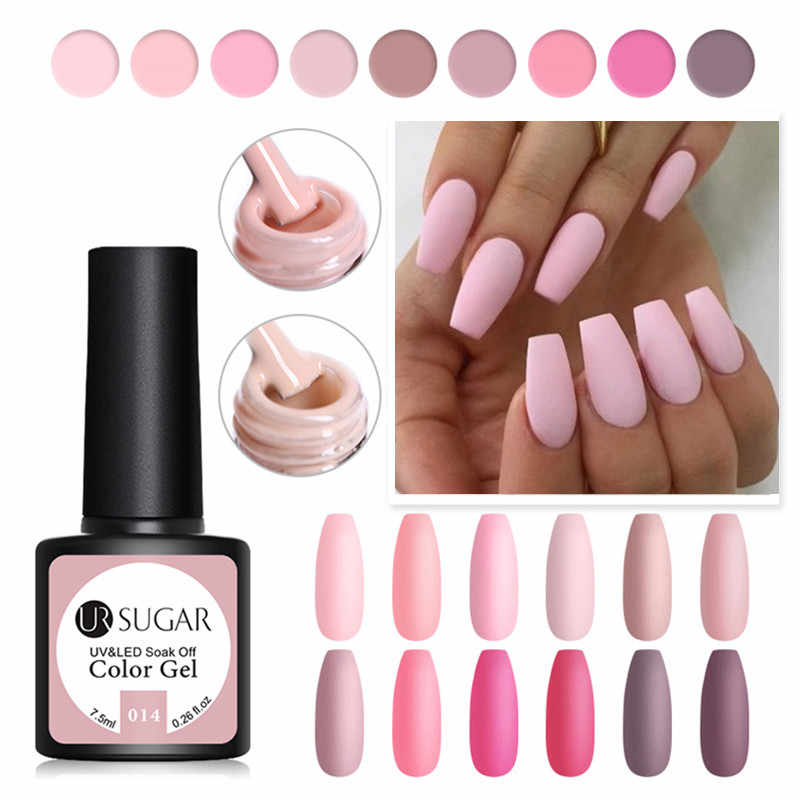 UR GULA 7.5ml Pink Matte UV Gel Cat Kuku Warna Matte Top Coat Rendam Off Gel Nail Art Pernis pernis Dasar DIY