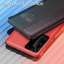 Dla Huawei P40 Pro inteligentny dotykowy widok prawdziwej skóry klapki skórzane etui do Huawei P40 P30 P20 Mate 10 20 X Pro obudzić pełne etui
