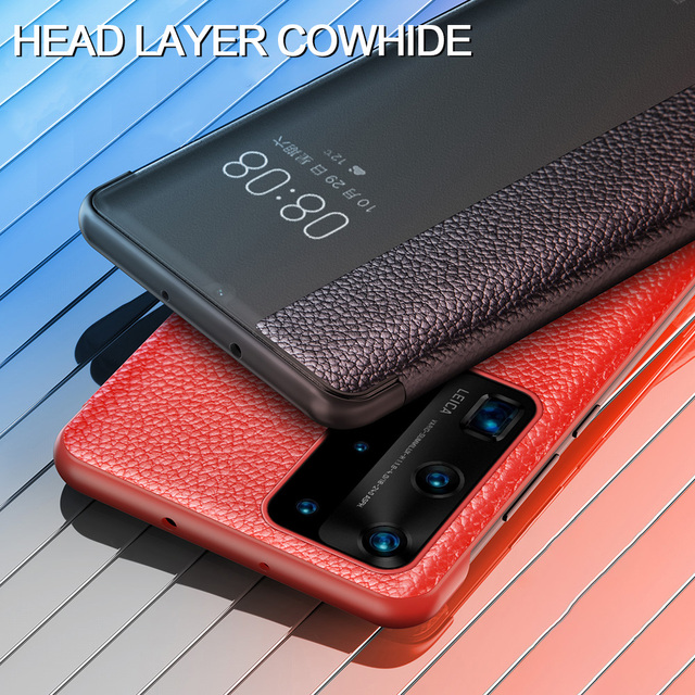 For Huawei P40 Pro Smart Touch View Genuine Leather Flip Leather Case for Huawei P40 P30 P20 Mate 10 20 X Pro Wake Up Full Case