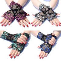 Short summer thin section two-color lace sun protection half-finger gloves female riding UV protection dance performance gloves 1
