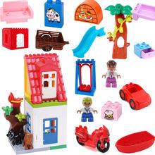 Duploed segundo andar casa móveis combinação blocos de construção crianças brinquedos educativos com duploe peças do brinquedo do bebê presentes