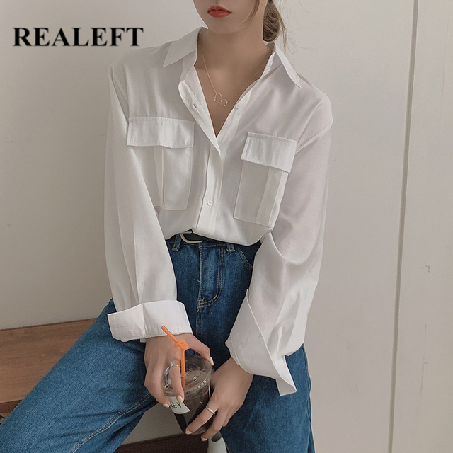 REALEFT Autumn 2020 New Solid White Women's Blouse Pockets Shirt Tops Long Sleeve Turn-down Collar Korean Style Loose Blouses 1