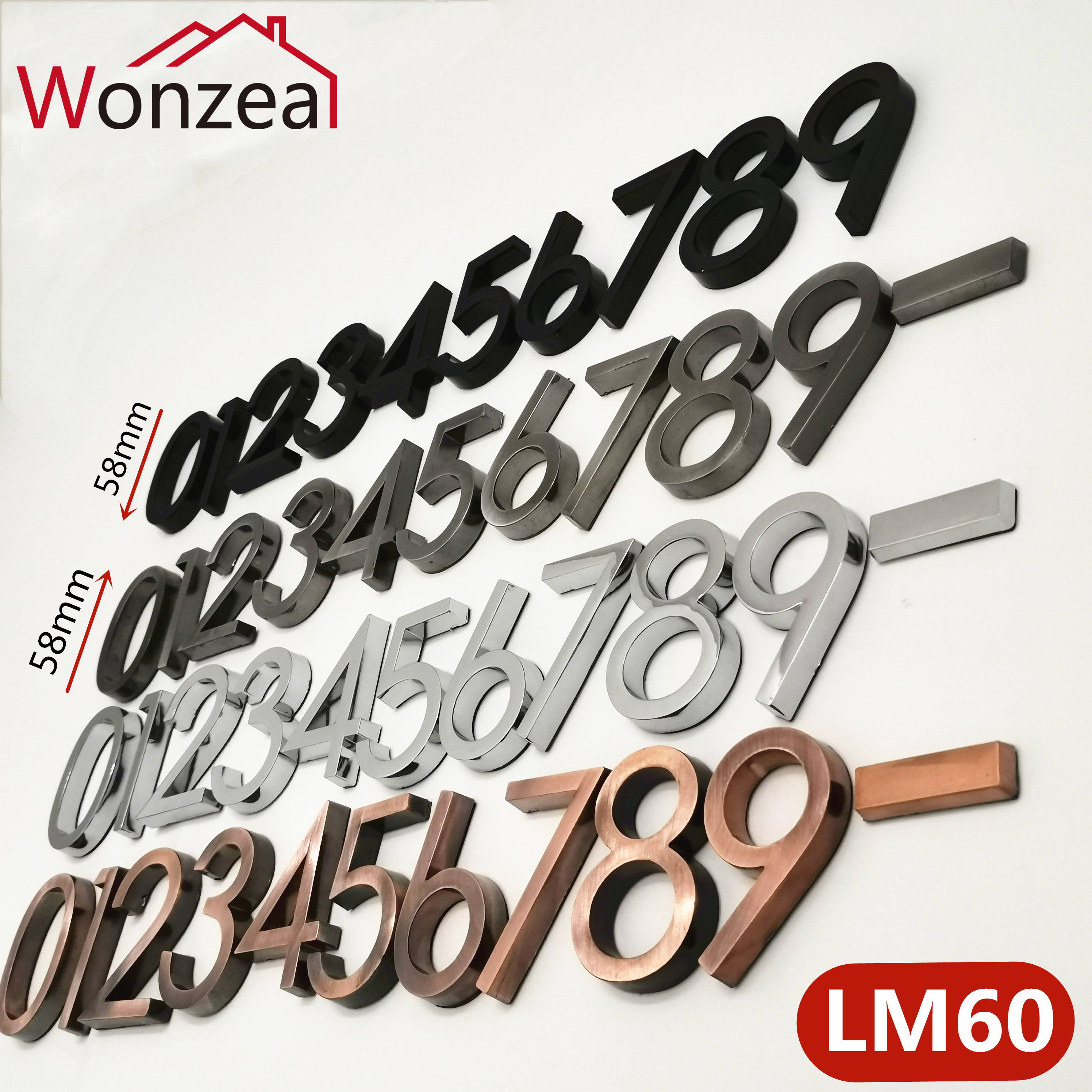 58mm Modern Door Plate Plaque Number House Hotel Door Address Digits Sticker Plate Sign ABS Plastic 012345678-9