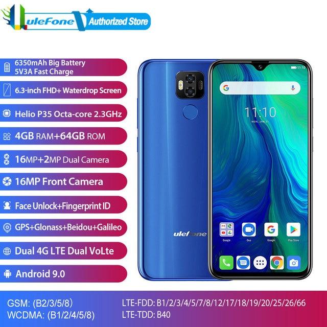 """טביעת אצבע פנים נעילה Ulefone כוח 6 אנדרואיד 9.0 אוקטה ליבות 6.3 """"Smartphone 4GB 64GB 6350mAh NFC LTE 4G SIM הכפול טלפון נייד"""