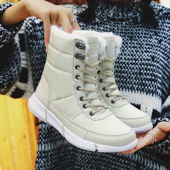 Nowe damskie buty na platformie modne damskie buty zimowe buty damskie ciepłe buty zimowe damskie wodoodporne buty damskie Plus Size tanie i dobre opinie HAJINK CN (pochodzenie) Dół ANKLE Szycia Patchwork J00986(1 Mieszkanie z Buty śniegu Pluszowe Okrągły nosek Zima RUBBER