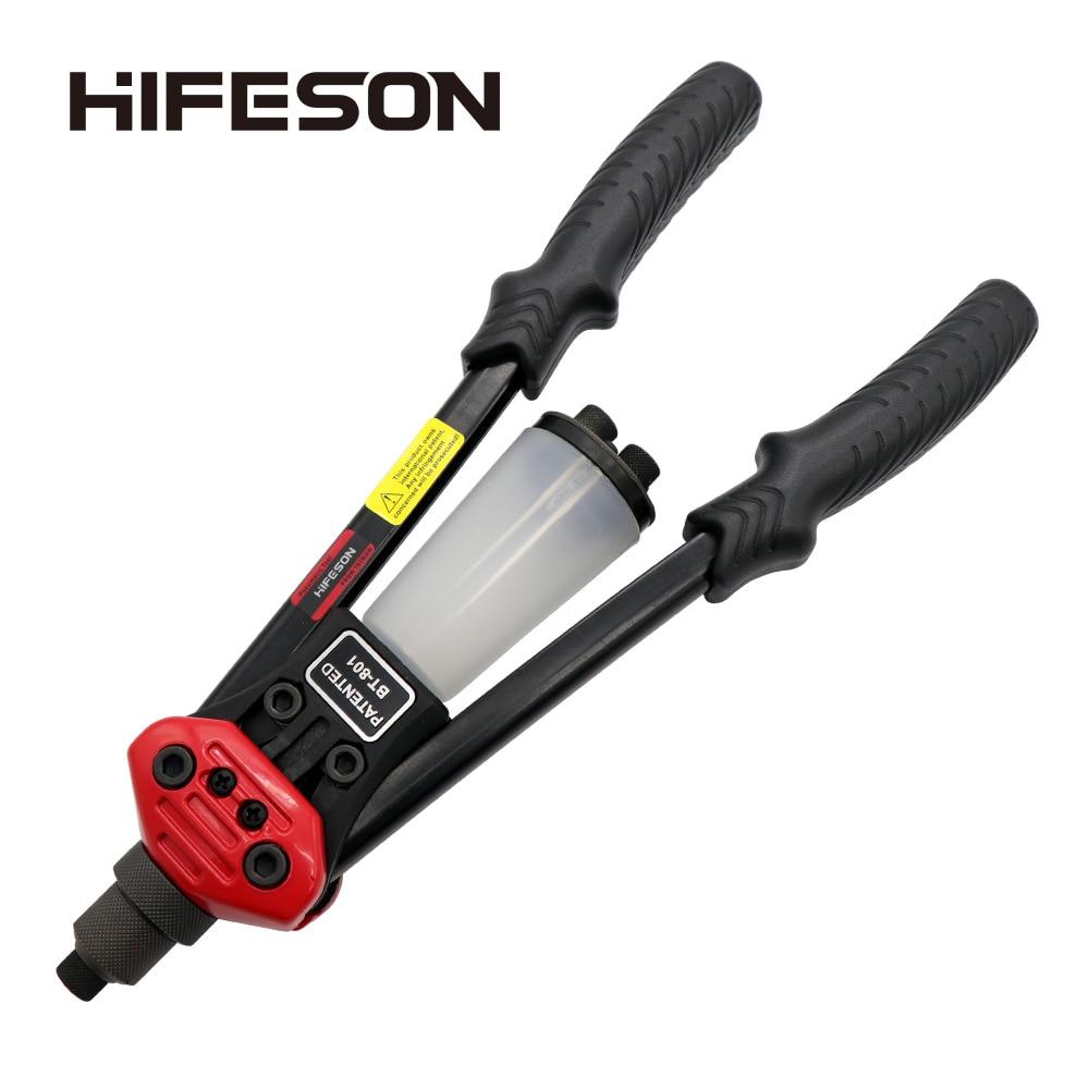 HIFESON Double Hand Manual Blind Rivet Gun 801/804/806 Nails Rivets Riveter Riveting Tool For 2.4 3.2 4.0 4.8 6.4mm