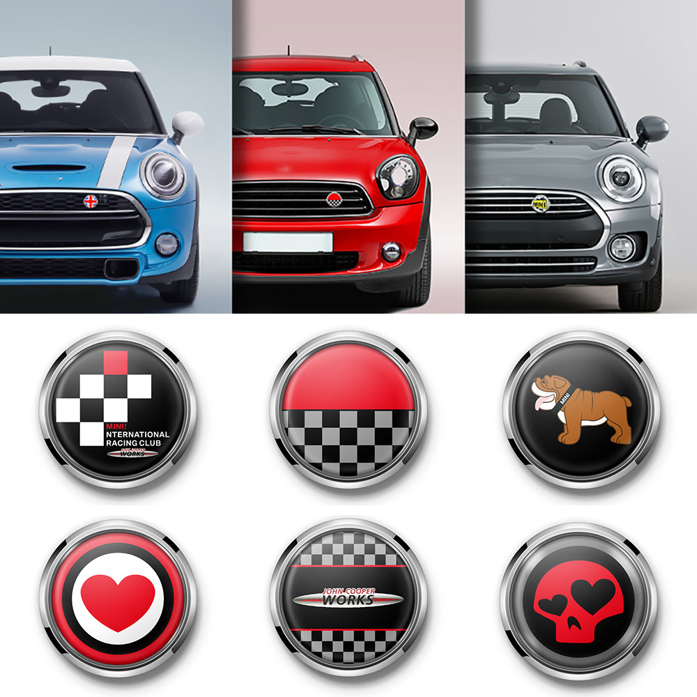 Car Styling Metal 3D Front Bumper Grill Emblem Badge Sticker For MINI Cooper JCW S One Countryman R60 R61 F56 F60 Accessories