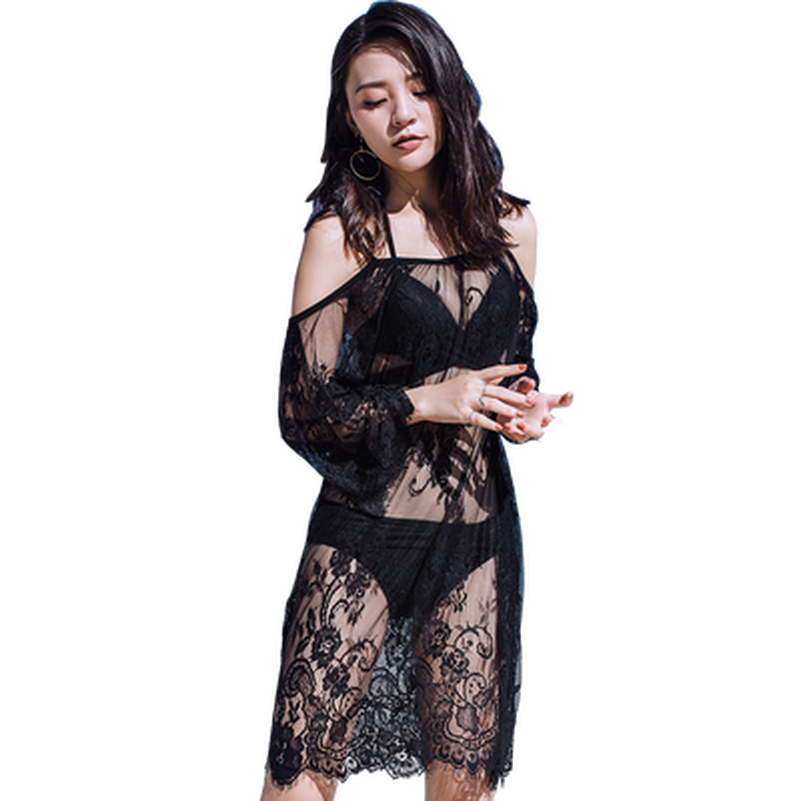 Factory Sources Europen Women Dress Vintage Beach Sexy Kawaii 2020 New Gothic Sale Office Transparent Lace Loose