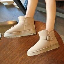 Fevral mulher botas de neve plana inverno plus size plataforma senhoras quentes sapatos casuais 2021 nova pele feminina camurça tornozelo botas femininas