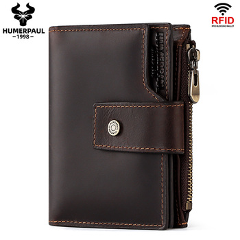 RFID Men Wallets Short Style High Quality Card Holder Male Purse Zipper Large Capacity Brand Crazy Horse Leather Wallet For Men недорого
