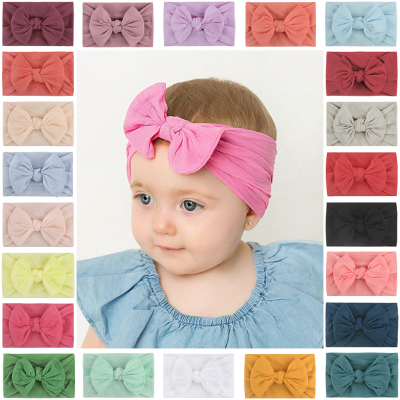 New Tiara Lace Stretch Headband Bowknot Baby Hairband Kids Turban