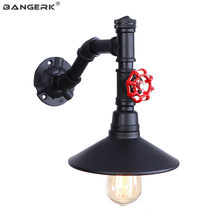 E27 Black Iron LED Wall Light Retro Industrial Style Water Pipe Wall Lamp Loft Decor Edison Sconces Aisle Bedside Home Lighting(China)