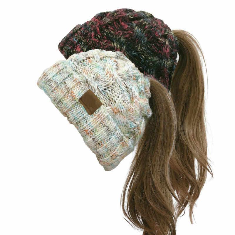 2019 새로운 패션 히트 여성의 모자 가을/겨울 두꺼운 따뜻한 트위스트 컬 니트 포니 테일 울 스웨터 모자 소녀 7 색상을 사용할 수