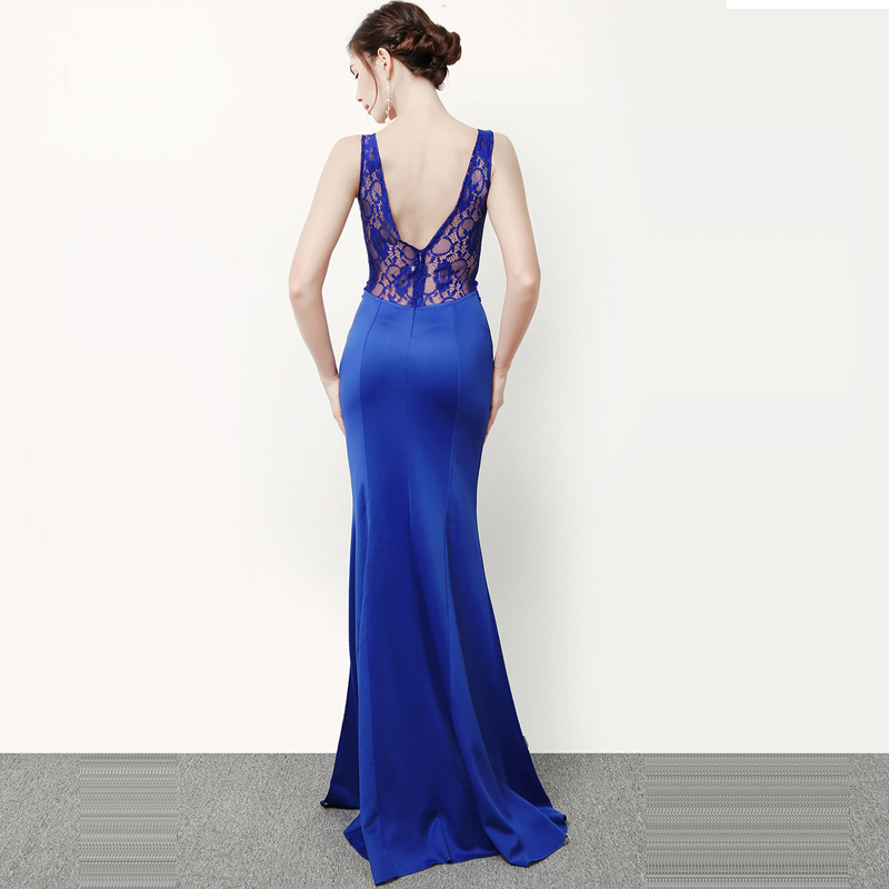 Skyyue Double V neck Evening Dress Crystal Robe De Soiree Backless Zipper Women Party Dresses Sleeveless Evening Gowns 2019 C243 in Evening Dresses from Weddings Events
