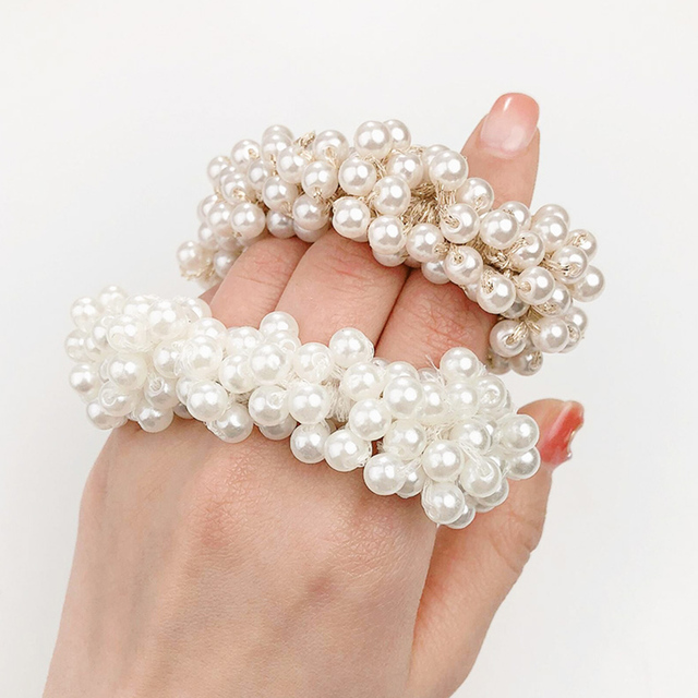 Woman Big Pearl Hair Ties Fashion Korean Style Hairband Scrunchies Girls Ponytail Holders Rubber Band Hair Accessories 4