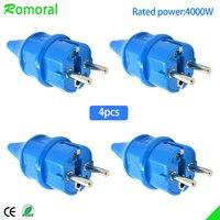 Adaptador de toma de corriente eléctrica Industrial, a prueba de agua, IP54, 4000W, 16A, Enchufe macho UE