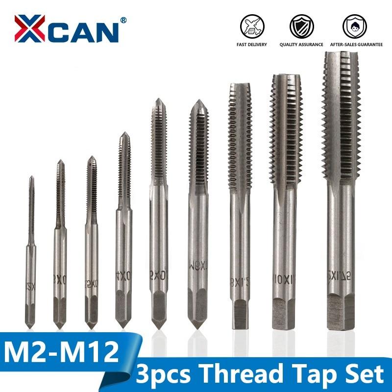 XCAN 3pcs M2-M12 Metric Hand Tap Set HSS Machine Screw Tap Drill Bit Hand Tapping Tools Screw Thread Plug Tap Drill