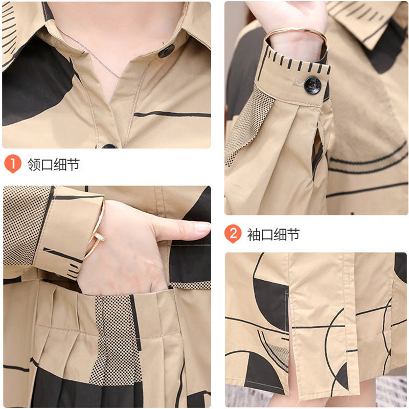 Shirt Windbreaker Female Long Korean 2019 New Slim Casual Large Size Trench Coat Thin Section Spring Autumn Coat Lady Print f184 26