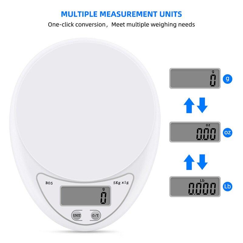 Портативные цифровые весы 5 кг/1 г, пищевые, диетические, кухонные, светодиодный электронный измерительные весы, кухонные весы для выпечки и приготовления пищи-3
