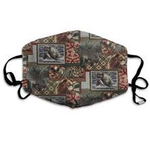 Invierno nórdico más cálido, cómodo de dos capas Vintage rústico osos peces bellotas árboles temáticos Anti polvo máscara de cara cubierta boca para