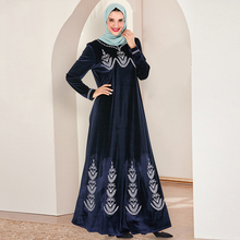 Siskakia Fashion Arab Big Size Long Dress Navy Blue Velvet E