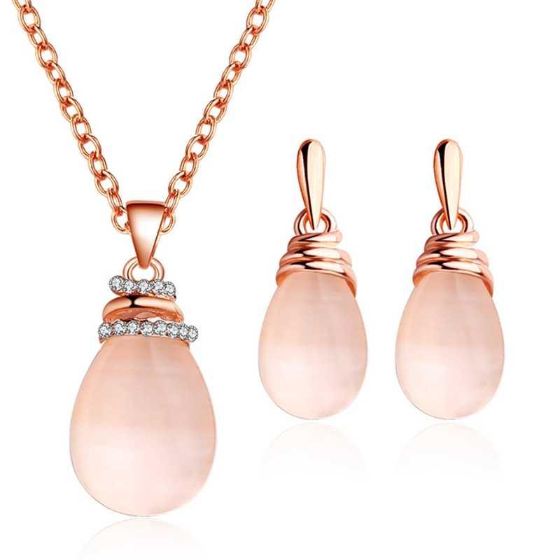 Natürliche Stein glänzenden Strass Wasser Tropfen Anhänger Stud Ohrringe Rose Gold-farbe Halskette Set Für Frauen partei Schmuck sets