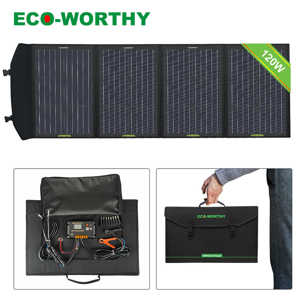 Eco Worthy 120w Folding Solar Panel Portable Mono Foldable Solar Cells Charger For Generator Power Bank Usb Devices Mobile Phone Solar Cells Aliexpress