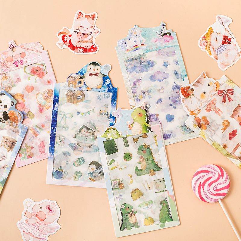 4 Pcs/pack Dinosaur Hamster Penguin Pig Bullet Journal Decorative Stationery Stickers Scrapbooking DIY Diary Album Stick Lable