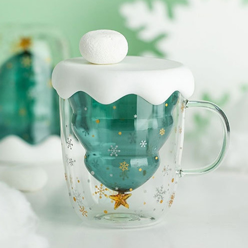 Creative 3D Transparent Double Anti-Scalding Glass Christmas Tree Star Cup Coffee Cup Milk Juice Cup Children's Christmas Gift