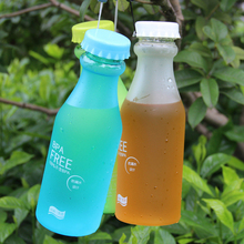 Portable Transparent Frosted Water Bottle Candy Unbreakable Leak-proof Plastic BPA Free Milk Travel Sports