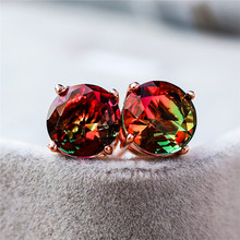 Charm Women Ladies Crystal Round Stud Earrings Elegant Female Silver Rose Gold Earrings Fashion Rainbow Zircon Wedding Earrings(China)