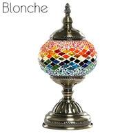 Blonche Mittelmeer Retro E14 Tisch Lampe Türkischen Glas Mosaik Tisch Lichter für Studie Schlafzimmer Nacht Wohnkultur Kunst Beleuchtung